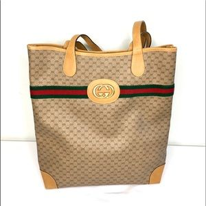 Authentic Gucci large vintage monogram brown tote